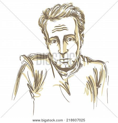 Artistic hand-drawn vector image black and white portrait of blameworthy and regretful guy. Emotions theme illustration.