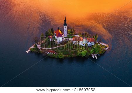 Aerial view of church of Assumption in Lake Bled Slovenia.