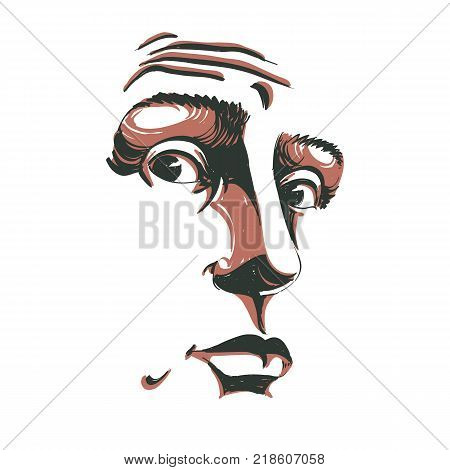 Monochrome vector hand-drawn image surprised young man. Black and white illustration of shocked guy. Face features of guy