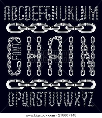 Vector font trendy typescript can be used in poster creation. Capital creative letters made with iron chain linked connection.