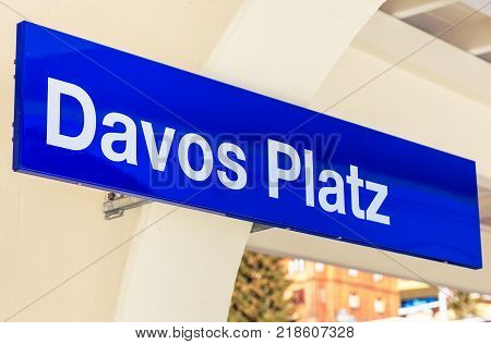 Davos, Switzerland - 26 January, 2017: a sign on the platform of the Davos Platz railway station in the town of Davos. Davos is a town in the Swiss canton of Graubunden, known for the World Economic Forum (WEF) taking place there annually.
