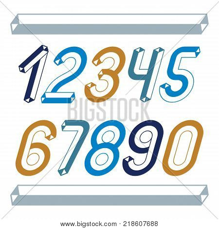 Trendy vintage vector digits numerals collection. Retro italic numbers from 0 to 9 can be used in art poster creation. Made with industrial 3d tetra tube design.