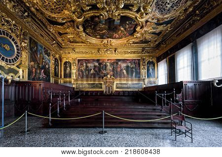 Venice, Italy - May 20, 2017: Interior of the Doge`s Palace (Palazzo Ducale) the Senate Chamber. Doge`s Palace was built in 15th cent on St Mark`s Square and is one of the main tourist attractions of Venice.