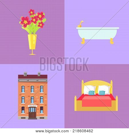 Red flowers in golden vase, ceramic bath, three-storey brick hotel building and soft spacious bed isolated vector illustrations set.
