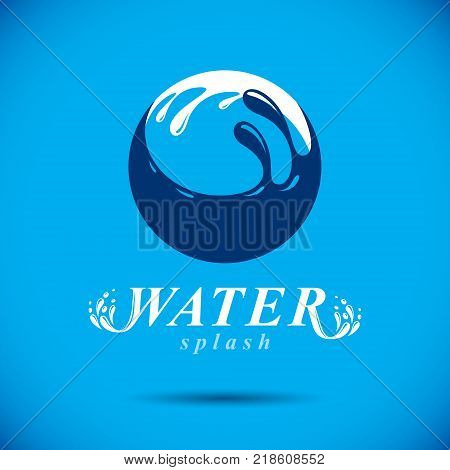 Pure water vector abstract logotype for use in mineral water advertising. Environment protection concept.