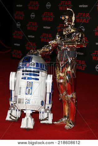 R2-D2 and C-3PO at the World premiere of 'Star Wars: The Last Jedi' held at the Shrine Auditorium in Los Angeles, USA on December 9, 2017.