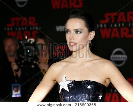 Daisy Ridley at the World premiere of 'Star Wars: The Last Jedi' held at the Shrine Auditorium in Los Angeles, USA on December 9, 2017.