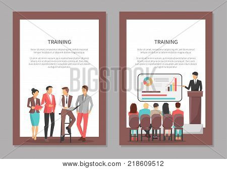Training posters set with people discussing important issues, man sitting on chair and pointing on tripod with charts, colleagues listen vector
