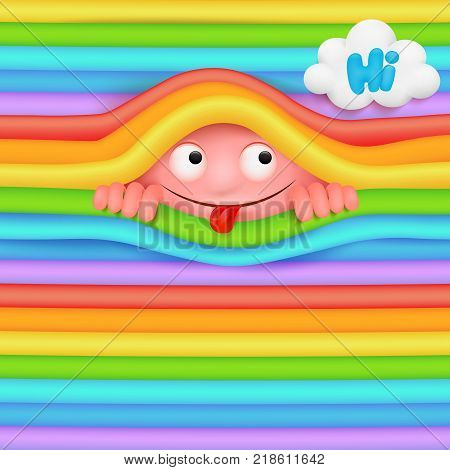 Pink funny emoji monster character looking out from rainbow wall. Hide and seek concept. Vector illustration