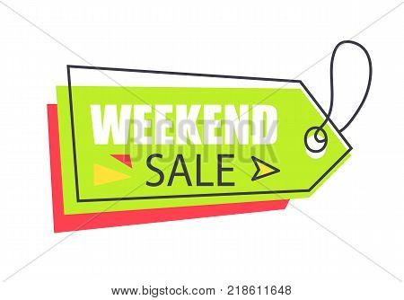 Weekend sale arrow shape hanging sticker with lace or thread. Discounts pointer vector illustration. Bright tag isolated on white background.