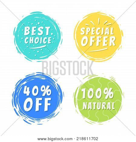 Best choice special offer 40 off 100 natural inscriptions on painted spot with brush strokes vector illustration isolated promo text with adverts