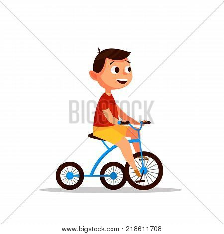 Boy on a bicycle. Riding a bicycle. Happy boy in cartoon style. Vector illustration.
