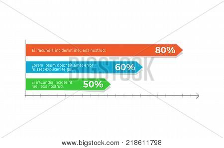 Infographic and interrelation among constituent parts, graph with percentage and sample text vector illustration isolated on white, horizontal chart