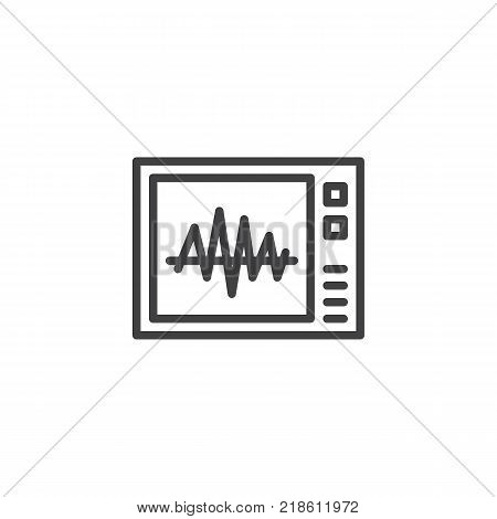 Heartbeat screen line icon, outline vector sign, linear style pictogram isolated on white. Electrocardiogram symbol, logo illustration. Editable stroke