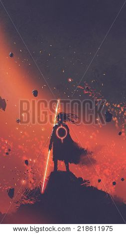 sci-fi character of the man in a black cape holding the light sword standing against red space background, digital art style, illustration painting
