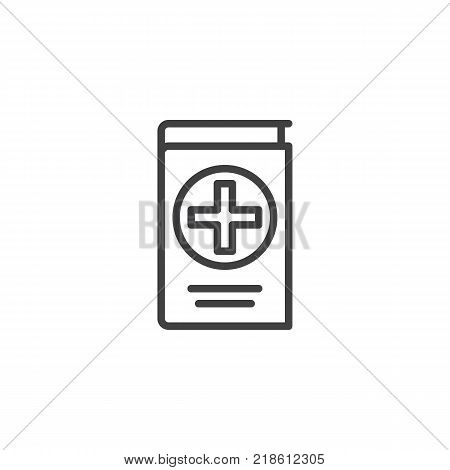 Medical reference book line icon, outline vector sign, linear style pictogram isolated on white. Symbol, logo illustration. Editable stroke