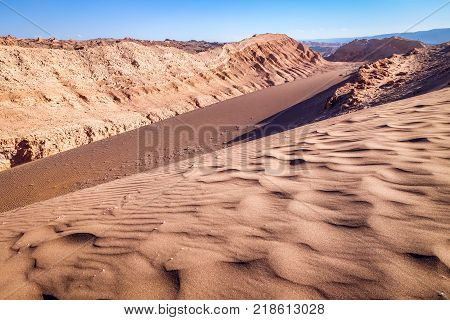Sand dunes landscape in Valle de la Luna San Pedro de Atacama Chile
