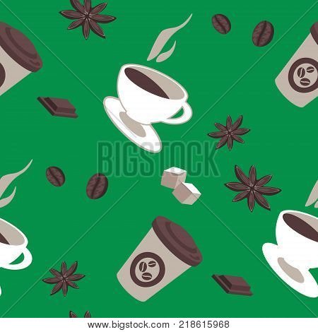 Vector seamless pattern of coffee items coffee cups pieces of chocolate star anise coffee beans hot and cold drinks. Retro design for wrapping background. Coffee to go
