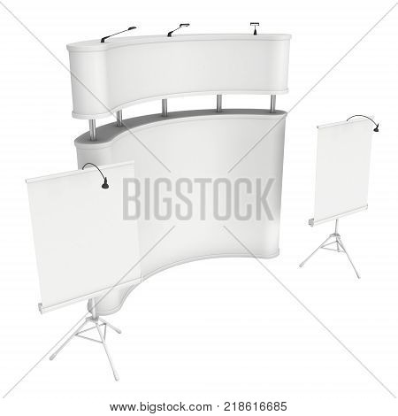 Trade show booth. Roll-Up, Pop-Up 3d render isolated on white background. Ad template for your expo design.