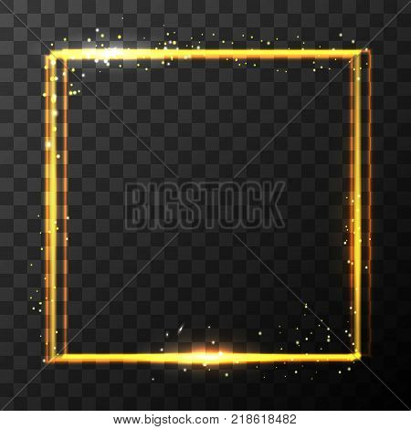 Vector stock gold glitter shine magic square frame. Glowing neon sparkle golden border effect on dark transparent background. EPS 10