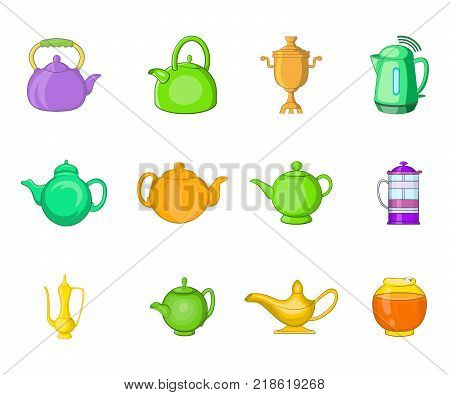 Kettle icon set. Cartoon set of kettle vector icons for web design isolated on white background