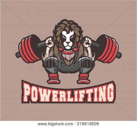 Vector illustration of sport logo powerlifting gym club character lion crouching with a barbell