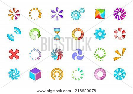 Loading icon set. Cartoon set of loading vector icons for web design isolated on white background