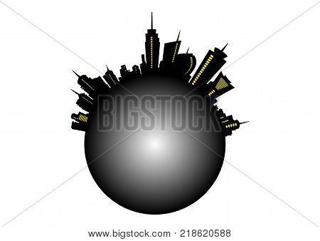 vector global city panorama design as urban circle shape, Urban skyline  metropolitan city with skyscrapers, vector illustration isolated