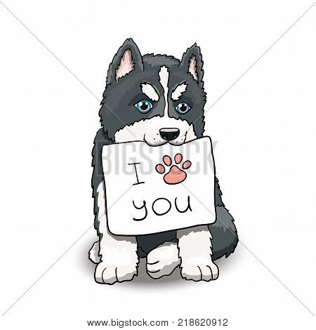 Husky Puppy Sitting Holding I Love You Sign. Cartoon Character Illustration