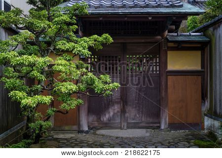 Kanazawa - Japan, June 8, 2017:  Entrance of a samurai house in Nagamachi,the historical samurai district in Kanazawa