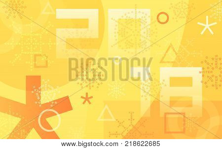 Winter sports games in PyeongChang 2018. Orange abstract background. Sports competitions in South Korea, February 2018. Design of advertising posters for website or print. Vector illustration.