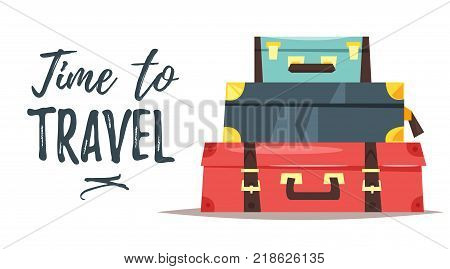 Vector cartoon style illustration of pile of three vintage suitcases. Time to travel text. Travel and tourism.