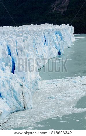 The northern side of the Perito Moreno Glacier ends in the waters of Lago Argentino Patagonia Argentina