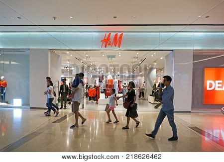 Kota Kinabalu Malaysia - December 14 2017: Uniqlo store in Imago Shopping Mall. Uniqlo Co. Ltd. is a Japanese casual wear designer manufacturer and retailer.
