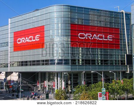 SAN FRANCISCO CA USA - SEPT 18 2005: Attendees of Oracle Open World conference go to Moscone Center West on Sept 18 2005 in San Francisco CA USA.