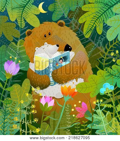 Good night fairy tale before going to bed. Vector illustration.