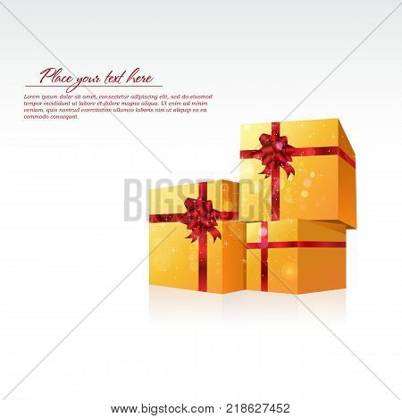 Three gold gift celebrate cubes on a white background. You can use your design and advertising.
