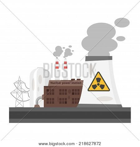 Vector cartoon illustration of dangerous for the nature old nuclear power plant. Environmental pollution concept.
