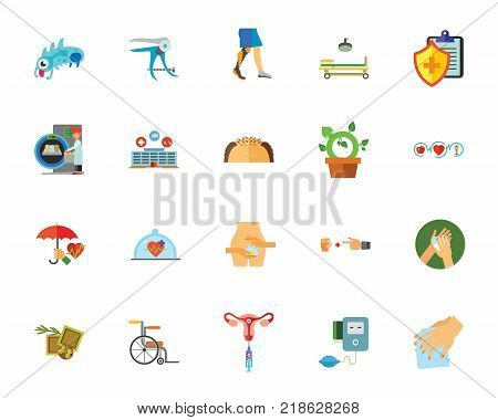 Healthcare icon set. Can be used for topics like medicine, hospital, clinic, insurance