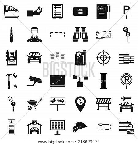 Padlock icons set. Simple style of 36 padlock vector icons for web isolated on white background
