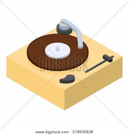 Vinyl player icon. Isometric illustration of vinyl player vector icon for web