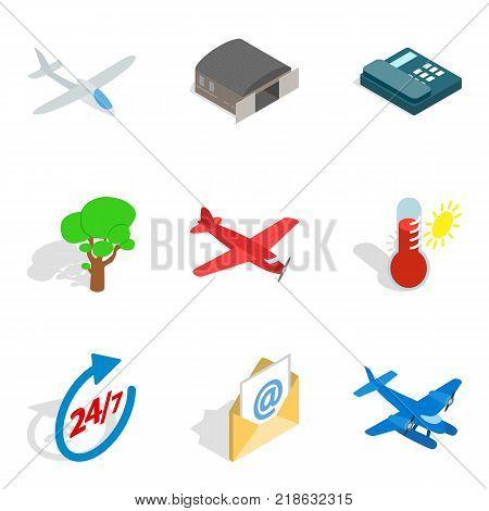 Aviation icons set. Isometric set of 9 aviation vector icons for web isolated on white background