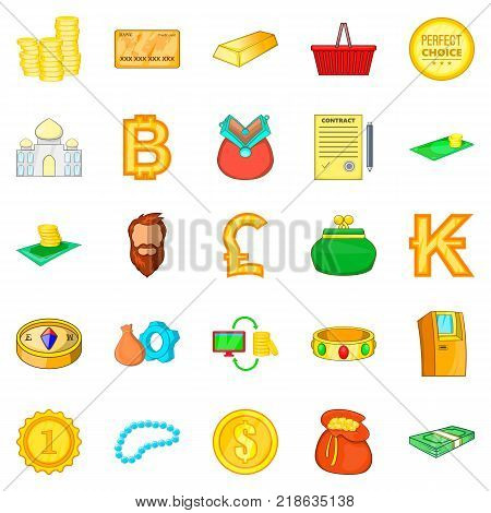 Money bond icons set. Cartoon set of 25 money bond vector icons for web isolated on white background
