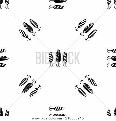Plastic fishing lure pattern repeat seamless in black color for any design. Vector geometric illustration