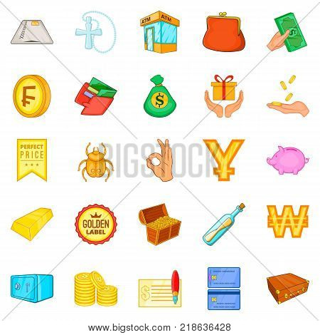 Debt icons set. Cartoon set of 25 debt vector icons for web isolated on white background