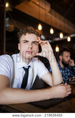 thoughtful concentrated man. concern problem worry bar concept