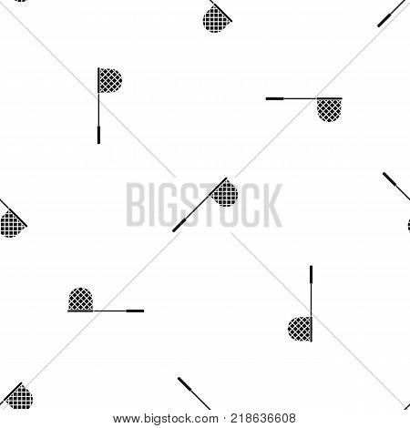 Fishing net pattern repeat seamless in black color for any design. Vector geometric illustration