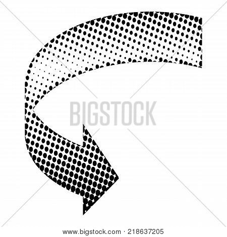 Halftone Circular Black Arrow vector icon symbol design. Illustration isolated on white background. Circular Black Dot Arrow. Vector Arrow Halftone Background.