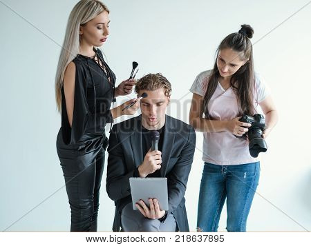 backstage teamwork video filming tv presenter stylist concept. Working process. Lifestyle media personality