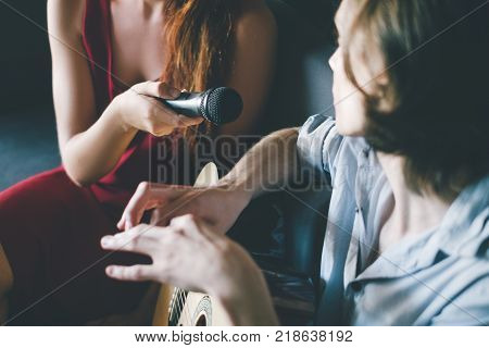 musician giving interview. famous person celebrity lifestyle. talent show publicity concept